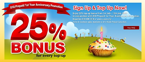 U Mobile 018 celebrates 1st anniversary with 25% top up bonus