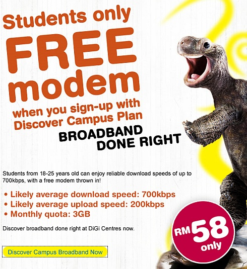 DiGi Broadband: Student package from RM58/month