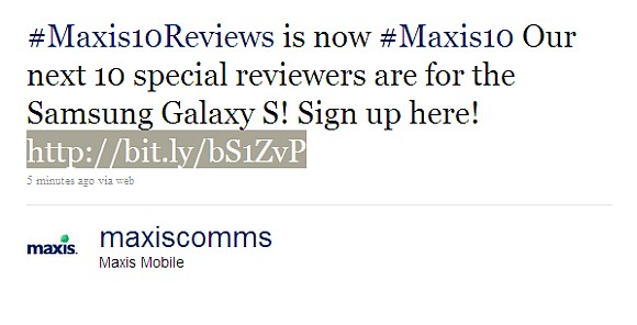 Maxis offering Galaxy S up for review