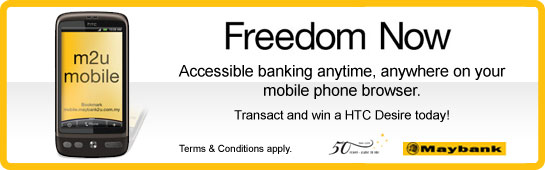 Maybank gives away HTC Desire daily for m2u mobile promo