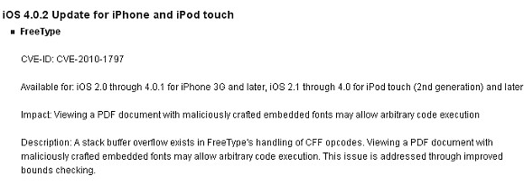 Apple release iOS 4.0.2, fixes PDF hack & blocks jailbreaking