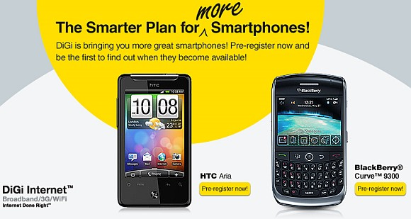 DiGi opens registration of interest for HTC Aria and BlackBerry Curve 9300