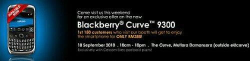 Celcom offers BlackBerry Curve 3G for RM388 at roadshow