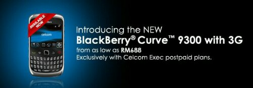 BlackBerry Curve 9300 offers from Celcom Exec Postpaid and Xpax Prepaid