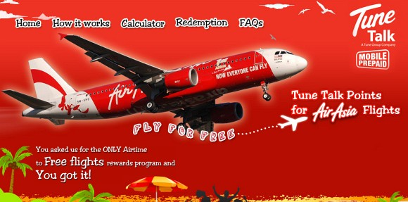 Tune Talk Points for Free AirAsia flights