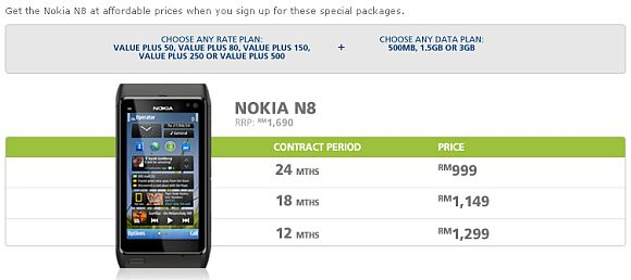 Nokia N8 from RM999 on Maxis data bundle