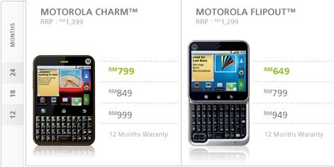 Maxis offers Motorola Charm & Flipout