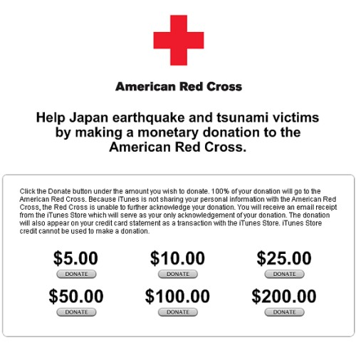 Apple collects donation for Japan earthquake rescue efforts via iTunes