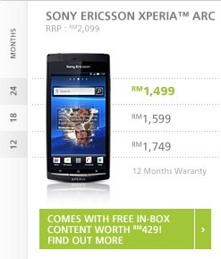 Maxis reveals Sony Ericsson Xperia arc