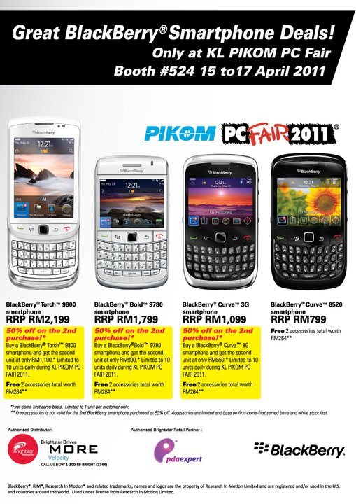 50% off your second BlackBerry at PC Fair