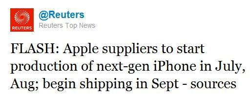 Next Gen iPhone to begin shipping in September. Sources told Reuters