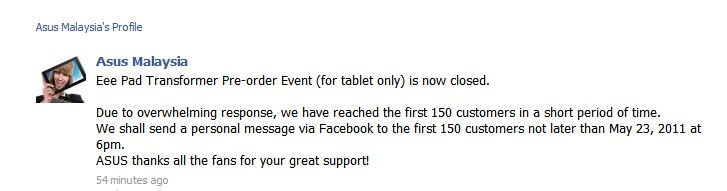 ASUS Eee Pad Transformer: all 150 pre-order units snapped up. All important keyboard dock coming in June