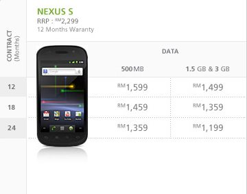 Maxis lowers Nexus S price and bundled pricing