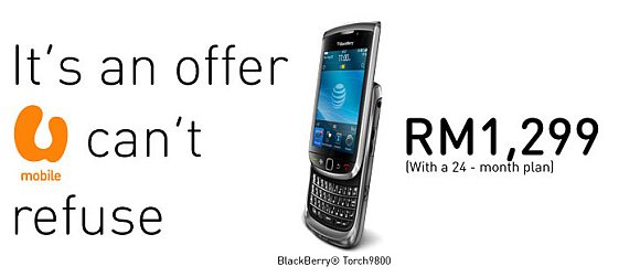 U Mobile BlackBerry Torch offer & Unlimited BIS + 5GB Data plan