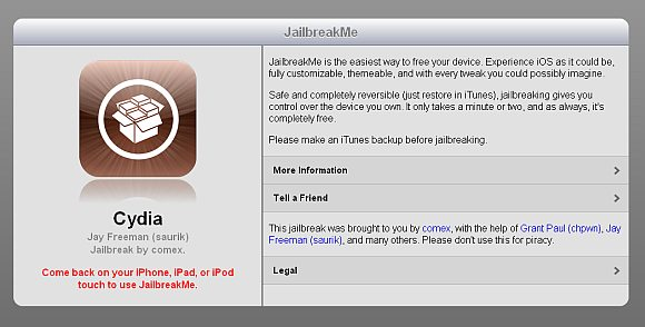 JailbreakMe for iOS 4.3.3 iPad, iPhone and iPod Touch