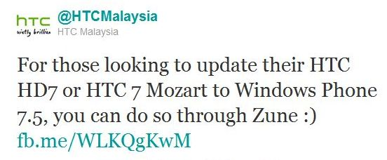 Mozart and HD7 users in Malaysia should be able to get Mango through Zune