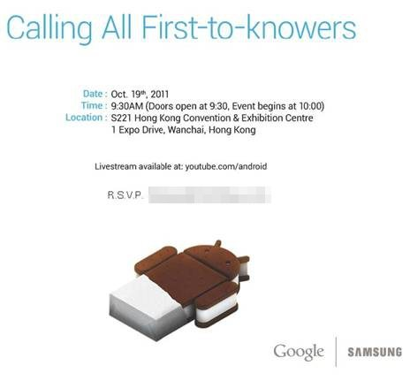 Google Ice Cream Sandwich event happening on 19th October