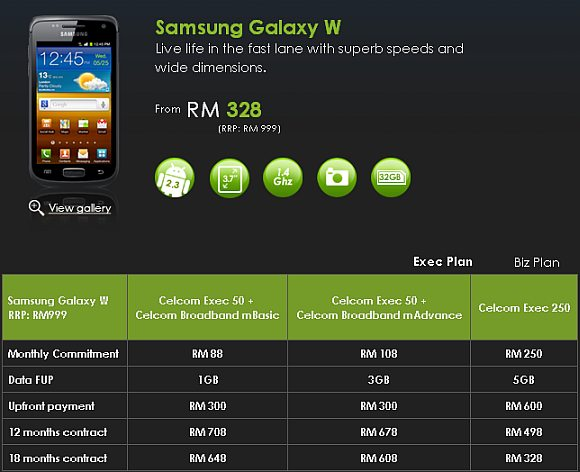 Celcom offers Samsung Galaxy W from RM328