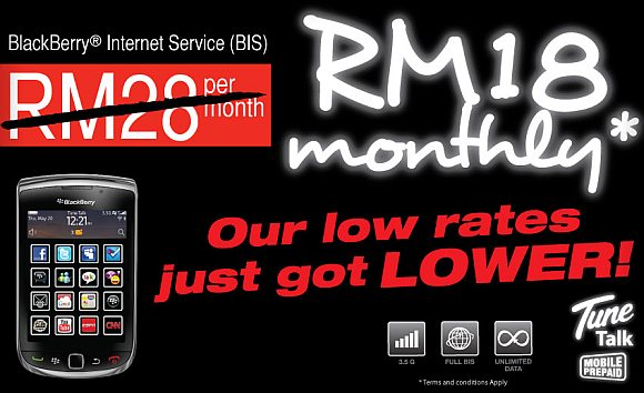 Tune Talk revises prepaid BlackBerry BIS subscription to RM18/month