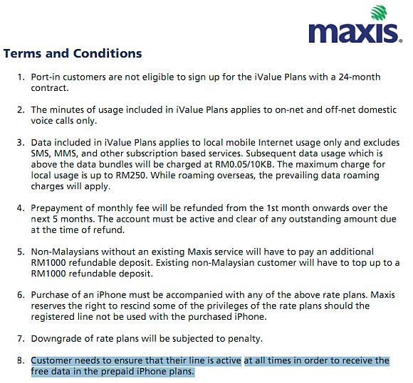 Maxis to offer iPhone 4S on prepaid with free data