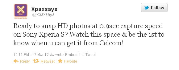 Celcom to offer Sony Xperia S