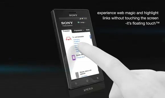Sony Xperia sola's Floating Touch explained