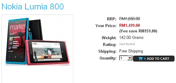 Nokia Lumia 800 RRP slashed to RM1499