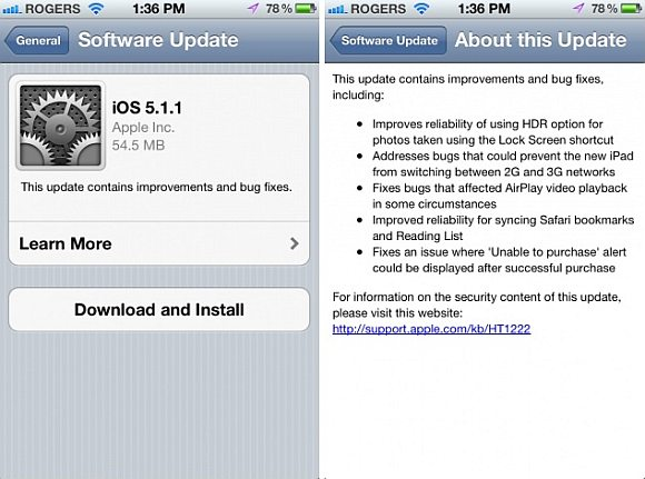 Apple releases iOS 5.1.1 with several bug fixes