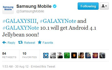 Samsung Says Galaxy S III, Galaxy Note and Galaxy Note 10.1 Will Get Jelly Bean Soon
