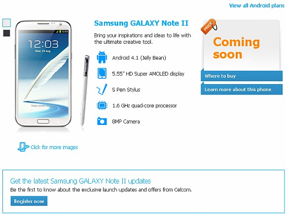 Celcom starts ROI for Samsung Galaxy Note II