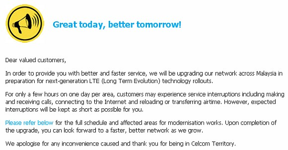 Celcom upgrades network to support LTE with service interruptions expected