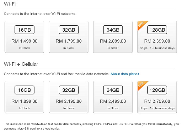 128GB 4th gen iPad now available for order from RM2,399