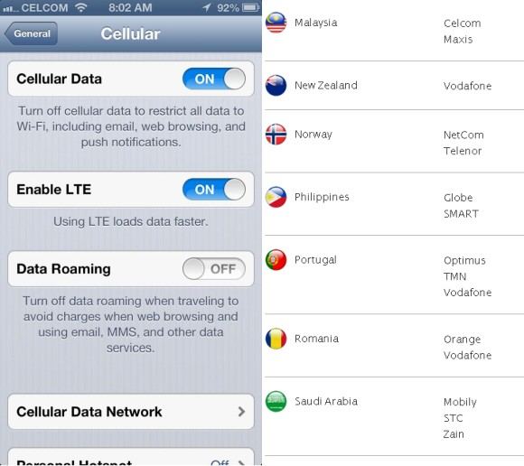 carrier update iphone celcom gets listed as 4g lte supported carrier for iphone 2055