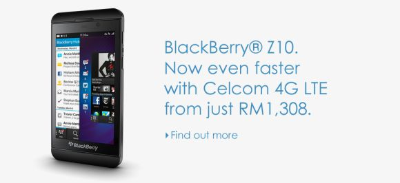 Celcom offers BlackBerry Z10 LTE version from RM1,308