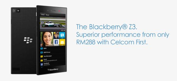 Celcom offers BlackBerry Z3 from RM288 with First One Plan