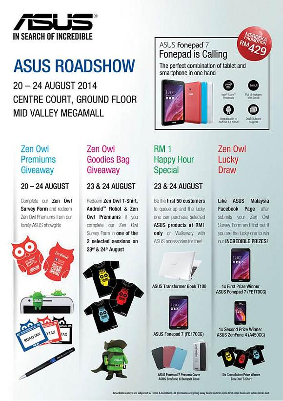 ASUS Roadshow is happening now at MidValley with RM1 sale this coming weekend