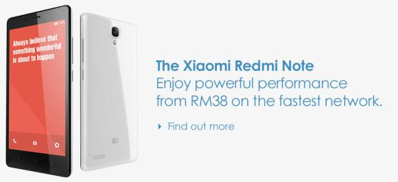 Xiaomi Redmi Note available on Celcom First One Plan