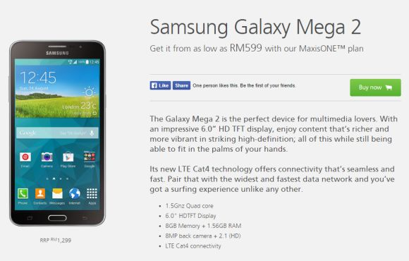 Maxis offers the Samsung Galaxy Mega 2 from RM599