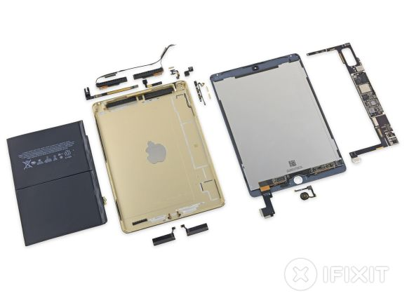 iPad Air 2 gets torn down revealing a smaller battery. This is going to be a tough tablet to fix.