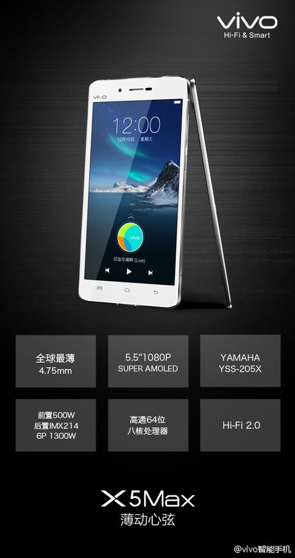 Vivo X5 Max is now official. Currently the World's Thinnest smart phone at 4.75mm