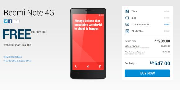 Redmi Note 4G offered for Free with DiGi Smart Plan