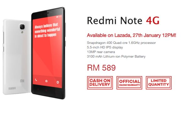 Lazada offers Redmi Note 4G on 27th Jan