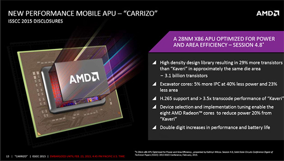 AMD's Carrizo laptop processors to focus on power efficiency