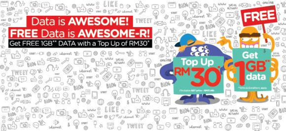 Top up RM30 on TuneTalk and get 1GB of data free
