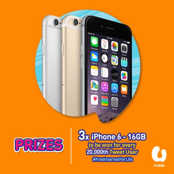 Win A Free Iphone 6 >> U Mobile To Give Freeinternetforlife And A Chance To Win An