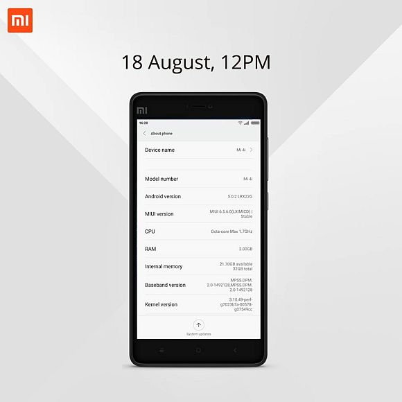 32GB model of the Mi 4i to go on sale tomorrow in Malaysia