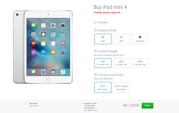 You can now order the iPad mini 4 in Malaysia