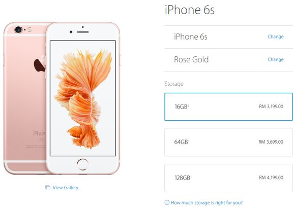 Here's the official iPhone 6s pricing from the Malaysian Apple Store