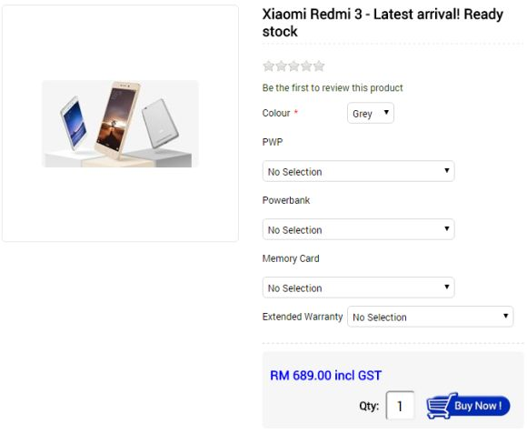 You can buy the Redmi 3 in Malaysia but it ain't cheap