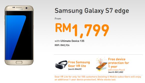 U Mobile offers the Galaxy S7 edge from RM1,799